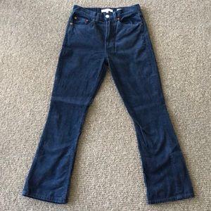 Re Done blue corduroy flare drop pants sz 25